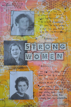 Stong Women art journal page by Carin Cullen artfullycarin.com interviewed at www.LearnExploreShare.com